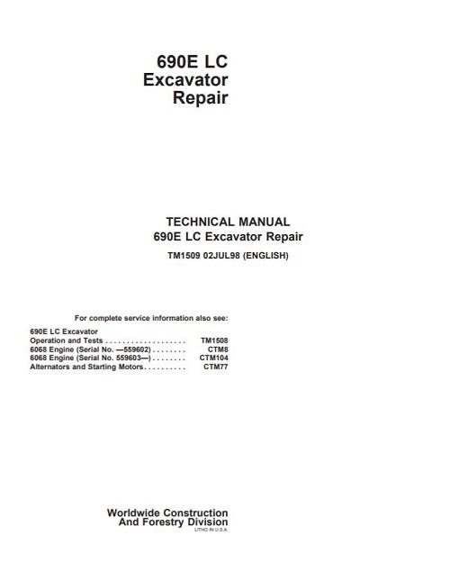 John Deere 690e Lc Excavator Repair Technical Manual