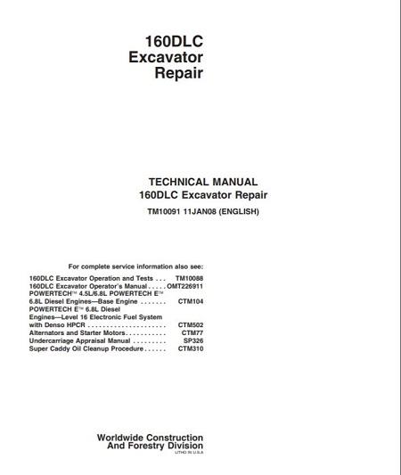 John Deere 160DLC Technical Manual