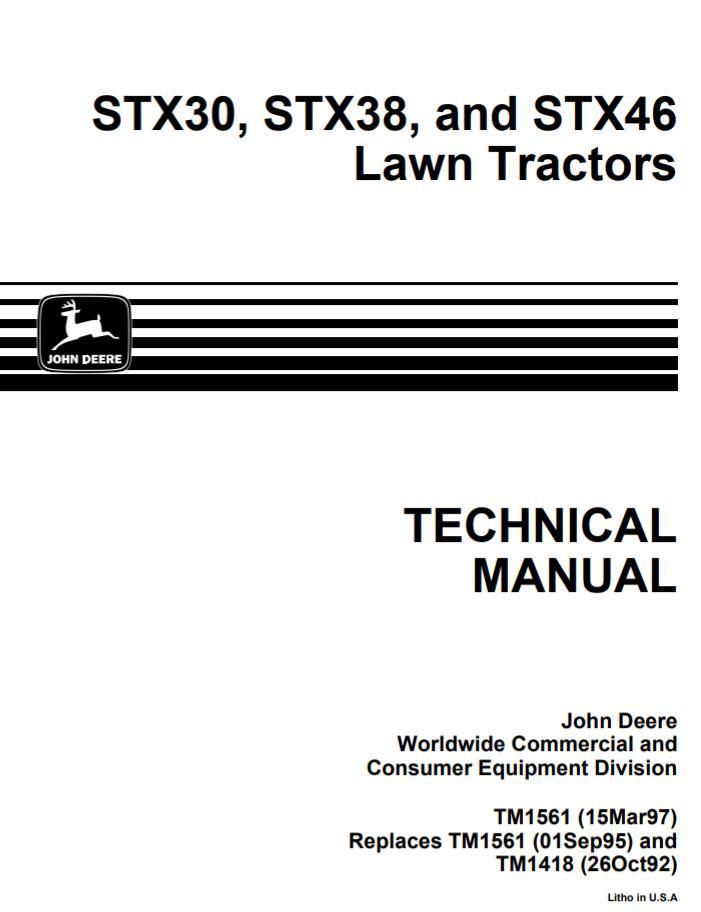 John Deere STX30, STX38, STX46 Lawn Tractors Service Manual