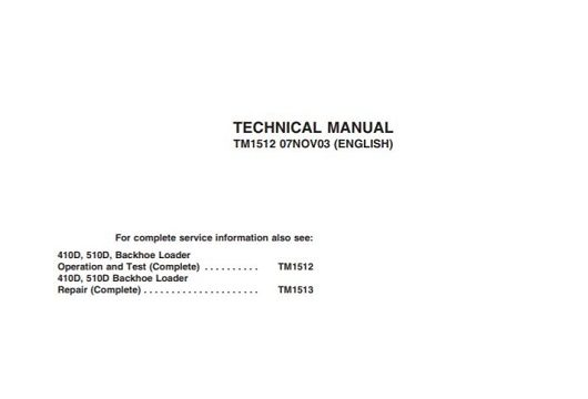 John Deere 410D 510D Technical Manual