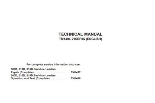 John Deere 300D 310D 315D Backhoe Loader Operation and Test Manual