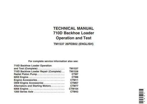 John Deere 710D Backhoe Loader Operation and Test Technical Manual