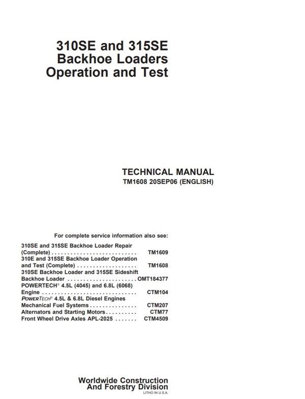 John Deere 310SE 315SE Backhoe Loaders Operation and Test Technical Manual