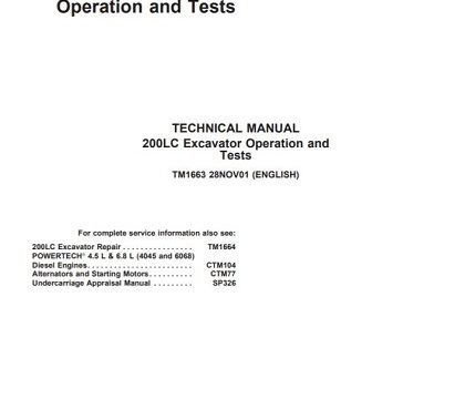 John Deere 200LC Excavator Operation and Tests Technical Manual