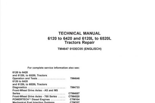 John Deere 6120 , 6420, 6120L, 6520L Tractor Technical Repair Manual