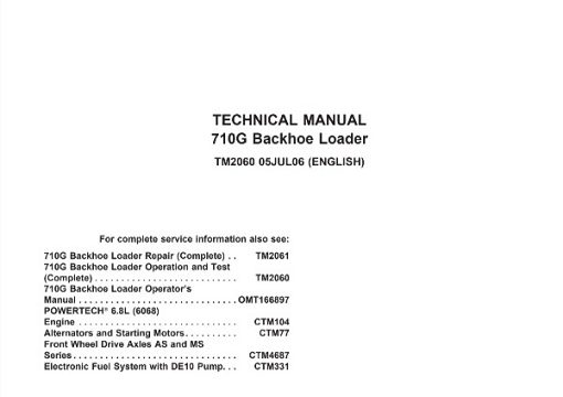 John Deere 710G Backhoe Loader Operation and Test Technical Manual