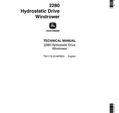 John Deere 2280 Hydrostatic Drive Windrower Technical Manual