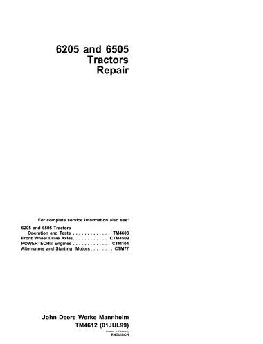 John Deere 6205, 6505 Tractors Repair Technical Manual