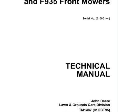 John Deere F911, F915, F925, F932, F935 Front Mowers Technical Manual