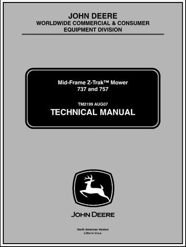 John Deere 737, 757 Mid-Frame Z-Trak Mower Technical Manual
