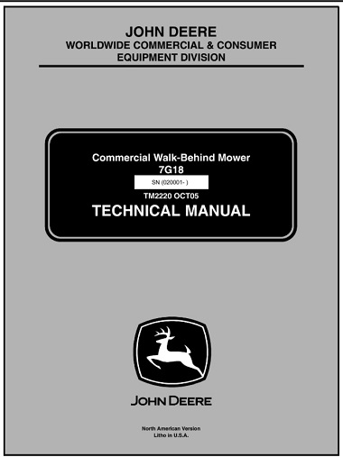 John Deere 7G18 Commercial Walk-Behind Mower Technical Manual