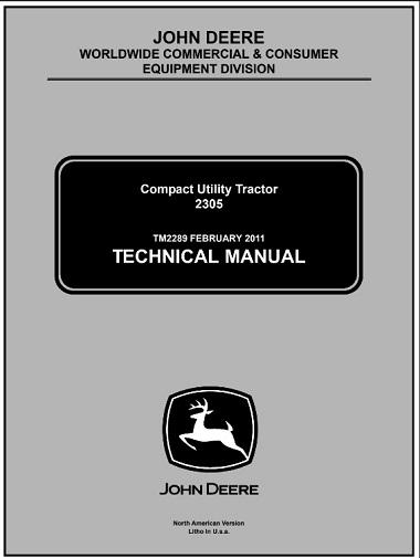 John Deere 2305 Compact Utility Tractor Technical Manual