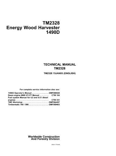 John Deere 1490D Energy Wood Harvester Technical Manual