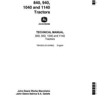 John Deere 840, 940, 1040, 1140 Tractors Technical Manual