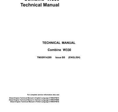 John Deere W330 Combine Harvesters Technical Manual
