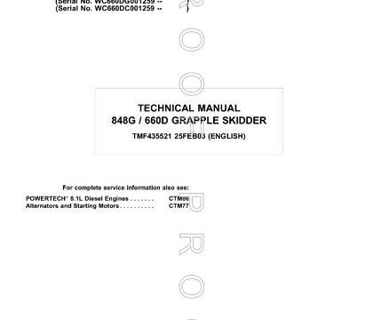 John Deere 848G, 660D Grapple Skidder Technical Manual