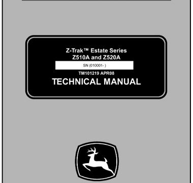 John Deere Z510A, Z520A Estate Series Z-Trak Technical Manual