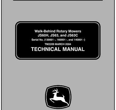 John Deere JS60H, JS63, JS63C Walk-Behind Rotary Mowers Technical Manual