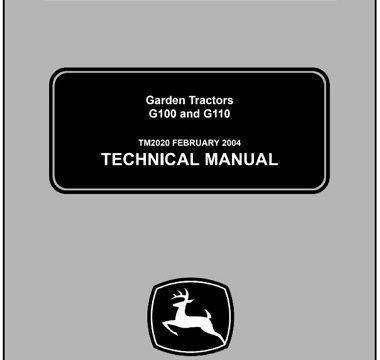 John Deere G100, G110 Garden Tractors Technical Manual