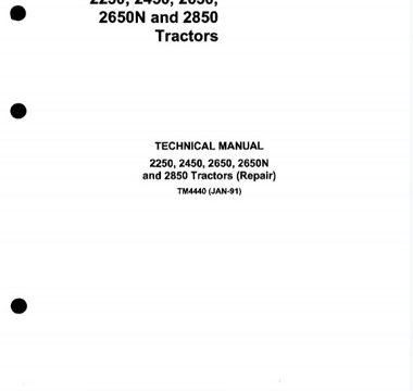 John Deere 2250, 2450, 2650, 2650N, 2850 Tractors Technical Manual