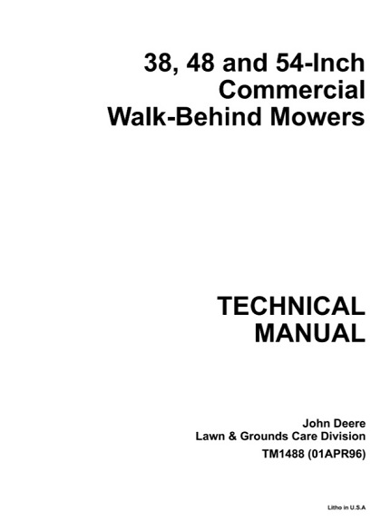 John Deere 38, 48, 54-Inch Commercial Walk - Behind Mowers Technical Manual