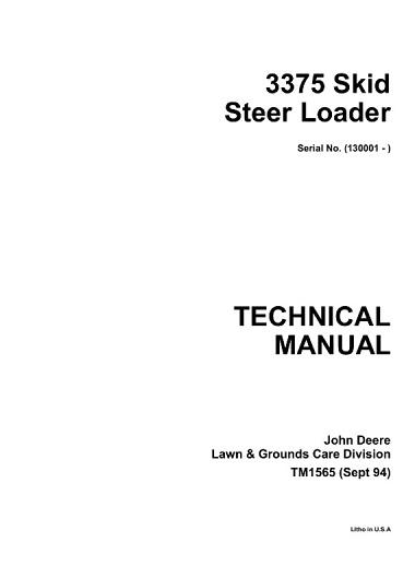 John Deere 3375 Skid Steer Loader Technical Manual