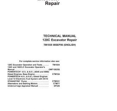 John Deere 120C Excavator Repair Technical Manual
