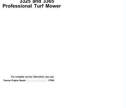 John Deere 3325, 3365 Professional Turf Mower Technical Manual
