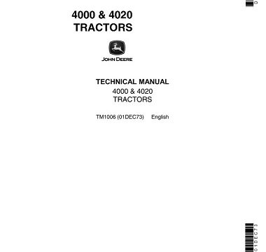 John Deere 4000, 4020 Tractors Technical Manual