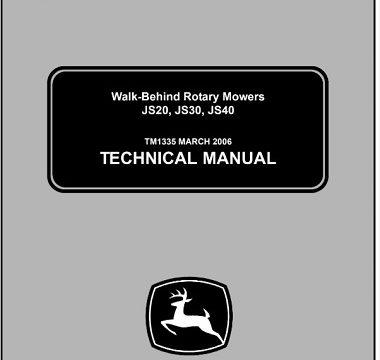 John Deere JS20, JS30, JS40 Walk-Behind Rotary Mowers Technical Manual