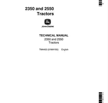 John Deere 2350, 2550 Tractors Technical Manual