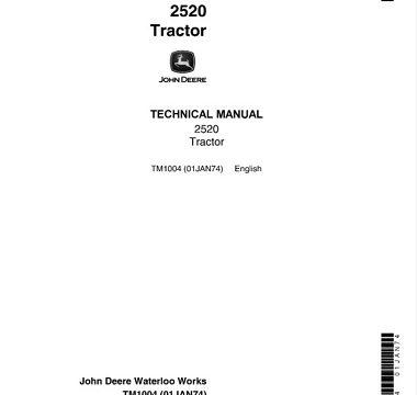 John Deere 2520 Tractor Technical Manual