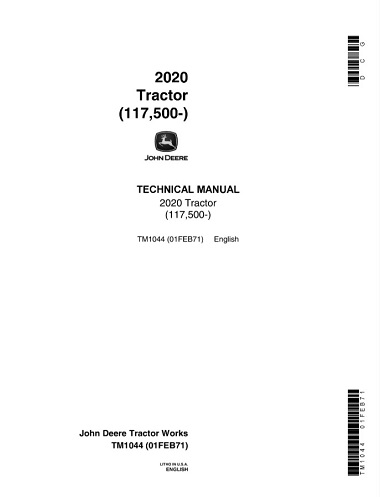 John Deere 2020 Tractor Technical Manual