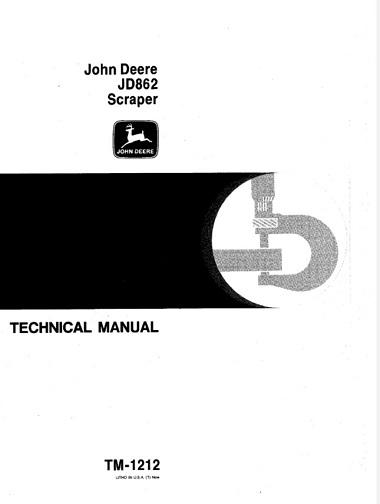 John Deere JD862 Scraper Technical Manual