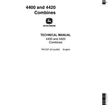 John Deere 4400, 4420 Combines Technical Manual