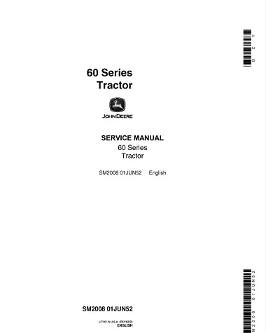 John Deere 60 Series Tractor Service Manual