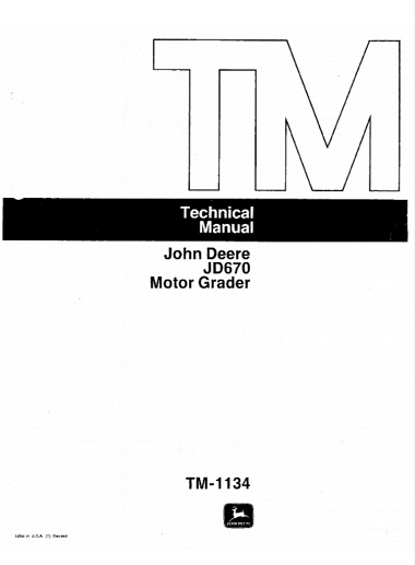 John Deere JD670 Motor Grader Technical Manual